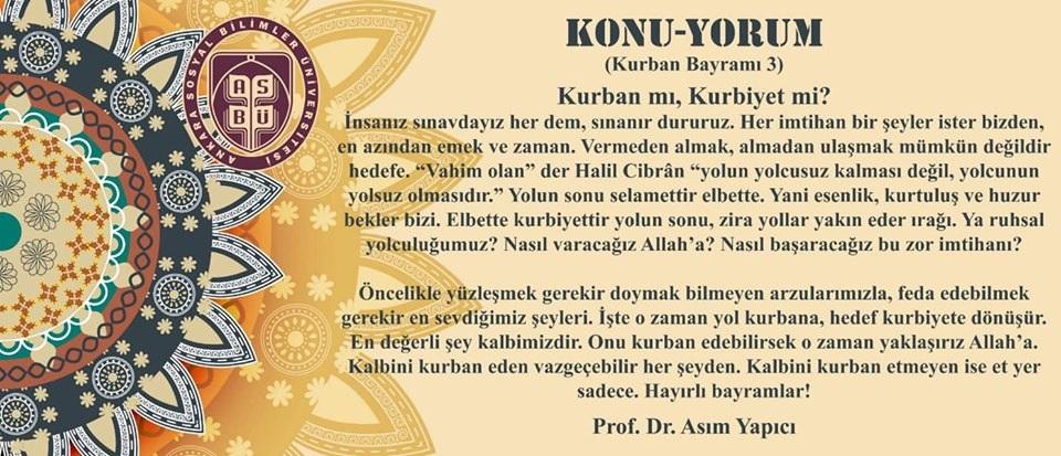 Prof. Dr. Asım Yapıcı'nın Kurban Bayramı konulu yazısı sizlerle.. 1