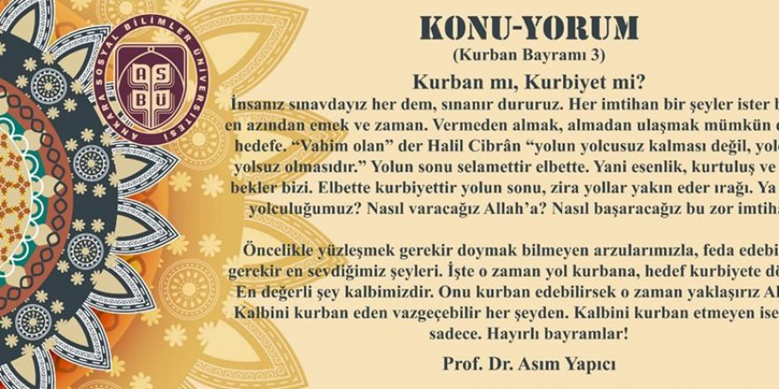 Prof. Dr. Asım Yapıcı'nın Kurban Bayramı konulu yazısı sizlerle..