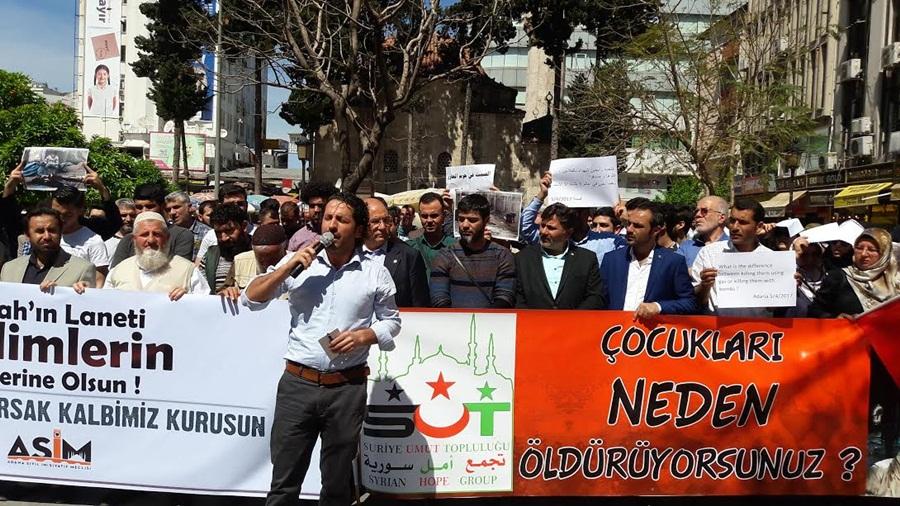 Esed rejiminin kimyasal silah saldırıları Adana'daprotesto edildi..