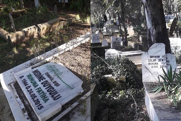 Adana'da mezar taşlarına saldırı