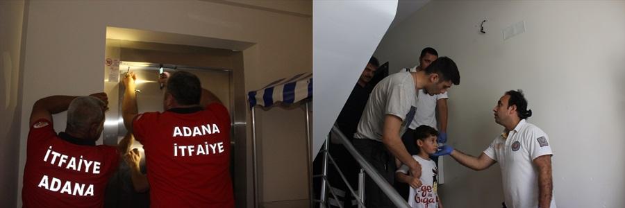 Adana'da asansörde mahsur kalan baba oğul kurtarıldı
