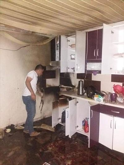 Adana'da yıldırım düşen evde yangın