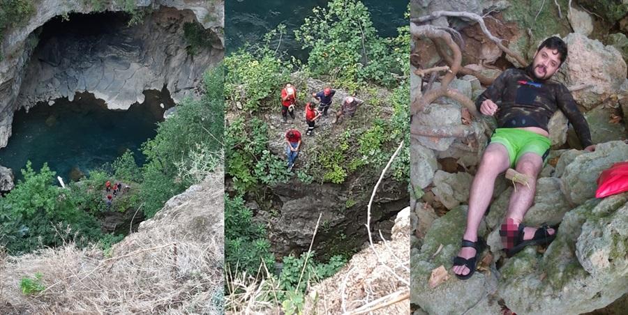Doğa yürüyüşünde uçurumdan düşerek yaralandı