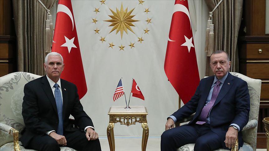 Cumhurbaşkanı Erdoğan ABD Başkan Yardımcısı Pence'i kabul etti