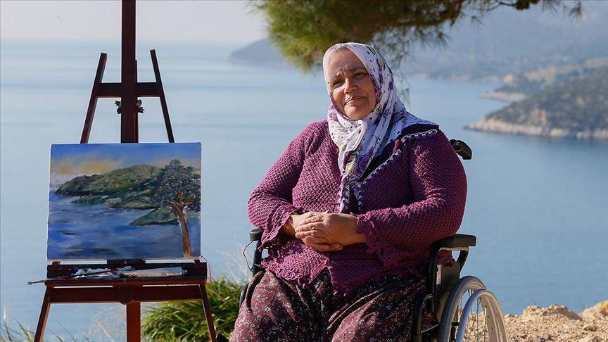 Bedensel engelli ressamın hayalini Anadolu Ajansı ekibi gerçekleştirdi