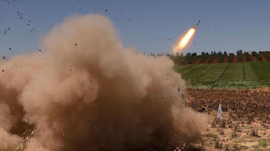 Tel Rıfat'ta yuvalanan YPG/PKK'lı teröristlerden Afrin'e füzeli saldırı