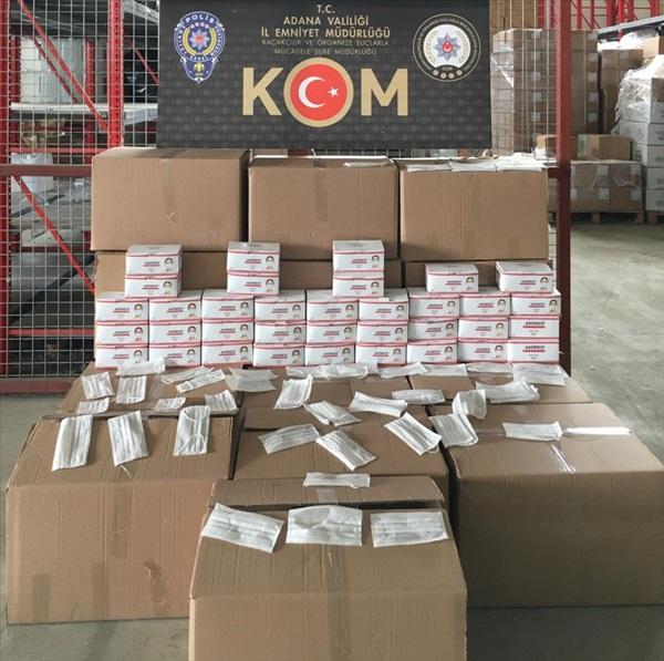 Adana'da kaçak üretilen 40 bin tıbbi maskeye el konuldu