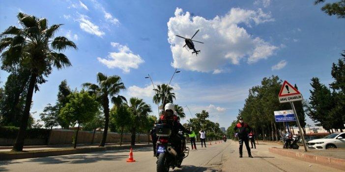 Adana'da sokağa çıkma kısıtlamasına helikopterli denetim