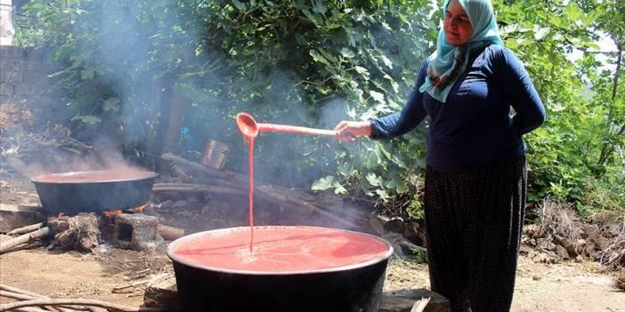 Sıcak havada zorlu domates salçası mesaisi