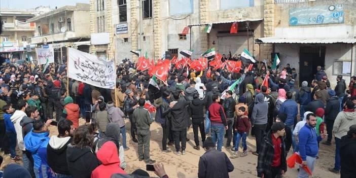İdlib'de Türkiye'ye destek gösterisi
