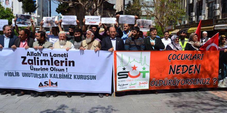 Esed rejiminin kimyasal silah saldırıları Adana'da  protesto edildi..