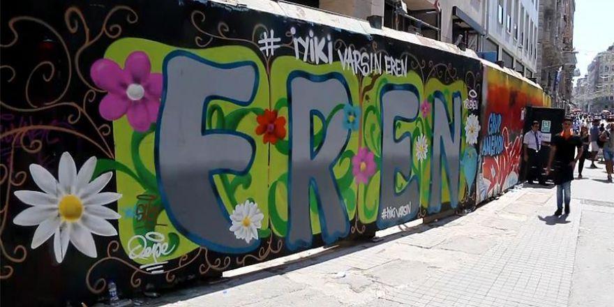 Şehit Eren Bülbül için İstiklal Caddesi'nde grafiti