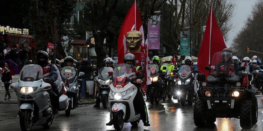 Motosiklet tutkunları Afrin şehitlerini andı..