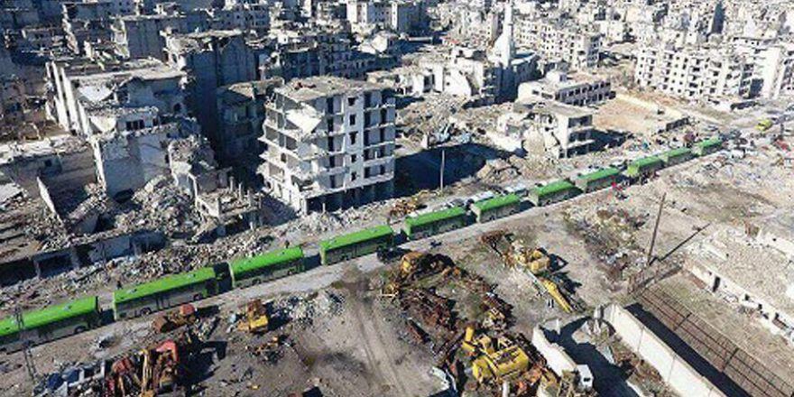 Halep'te tahliye bekleyişi havadan görüntülendi